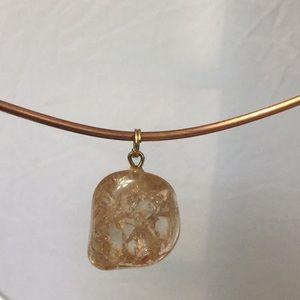 Czech Golden Crackle Glass Pendant
